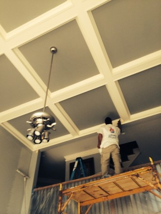 Beautiful Coffered Ceilings Built and Painted in Huntersville, NC