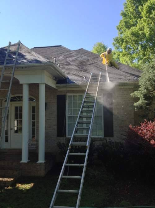 Power Washing of a House and Gutter Cleaning